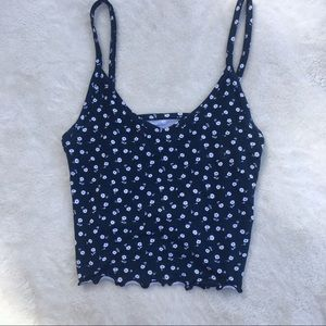 Pacsun Navy Blue and White Floral Cami Crop Tank